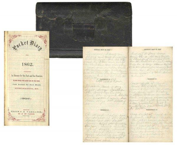 2585: Civil War Soldier Diary 1st MA Cavalry Battle Con