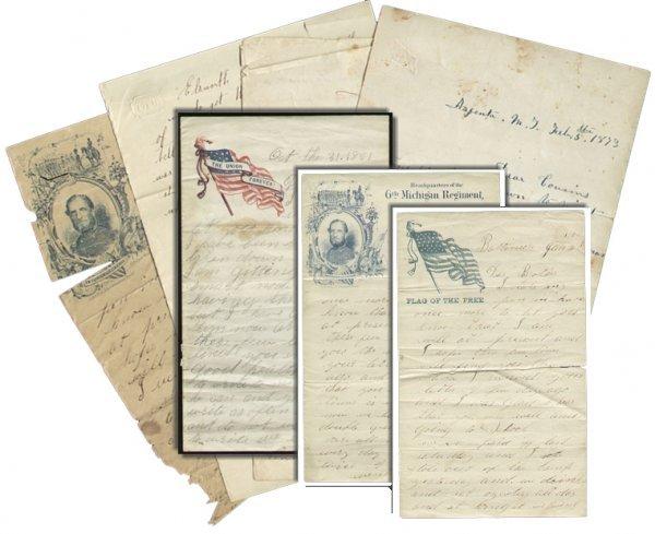 2592: Civil War Soldier 6th MI Infantry ALS Lot 1861 Le
