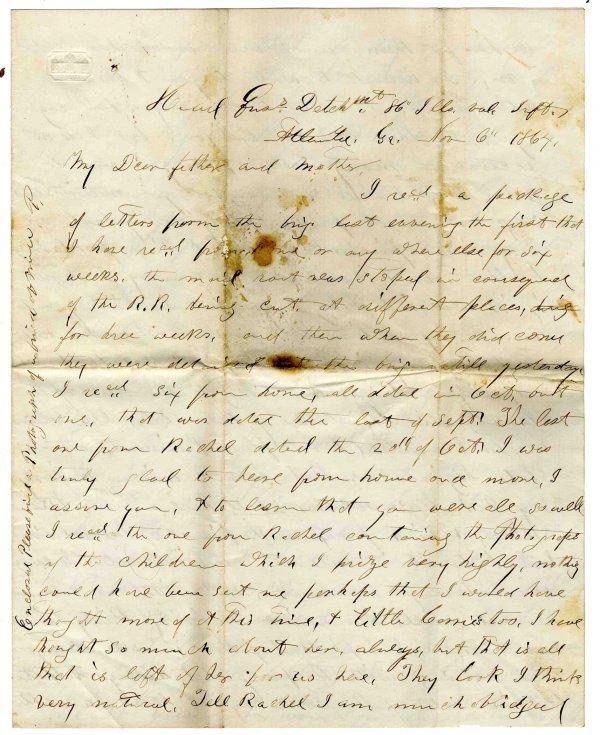 2598: Civil War Letter ALS Soldier 86th IL Infantry 186