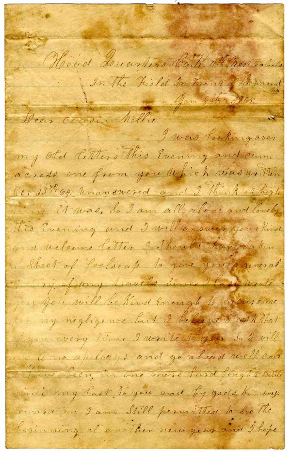 2673: Civil War Letter Soldier 11th WV Infantry WIA ALS