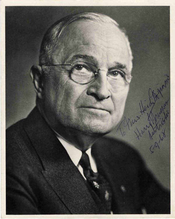 Harry Truman President Signed Photo Autographed 1968