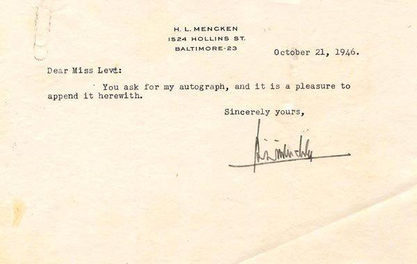 Journalist H. L. Mencken Typed Letter Signed TLS