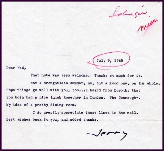 J.D. Salinger Typed Letter Signed TLS Rare Autograph