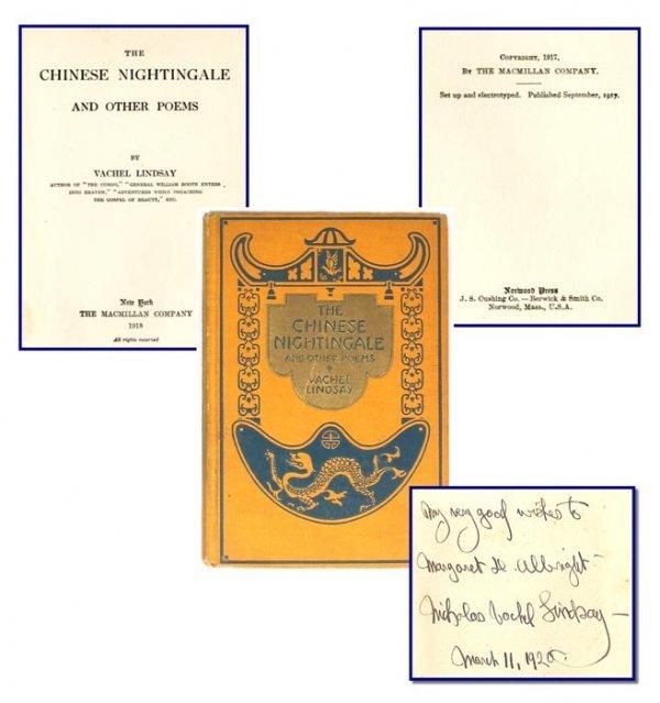 1918 Signed Chinese Nightingale Poems Vachel Lindsay