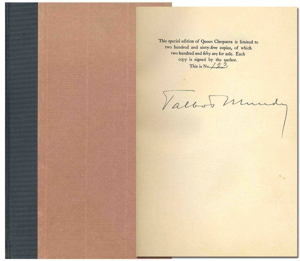 Book Talbot Mundy Queen Cleopatra Signed First Edition