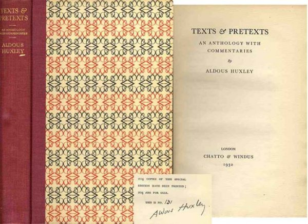 Book Texts Pretexts Aldous Huxley Signed First Edition