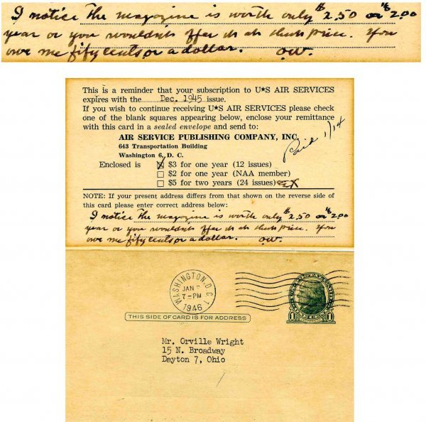 Air Services Signed Orville Wright Autograph Inscribed
