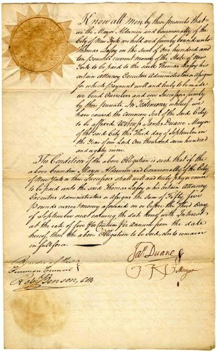 Document Signed NYC City Mayor 1st James Duane DS 1789