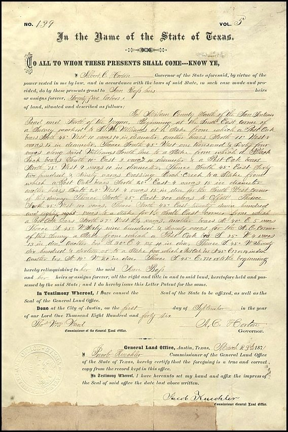 Texas Land Grant Survey Signed Document 1871 Union CW