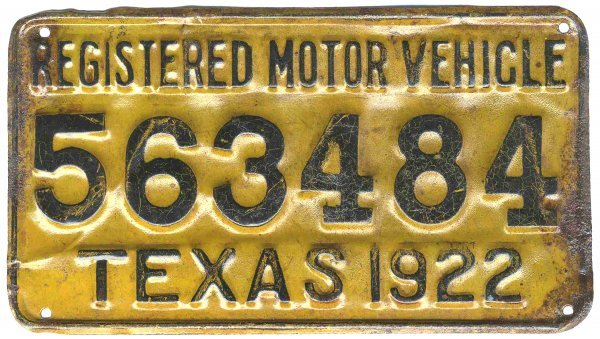 Texas License Plate Car Automobile 1922 Motor Vehicle