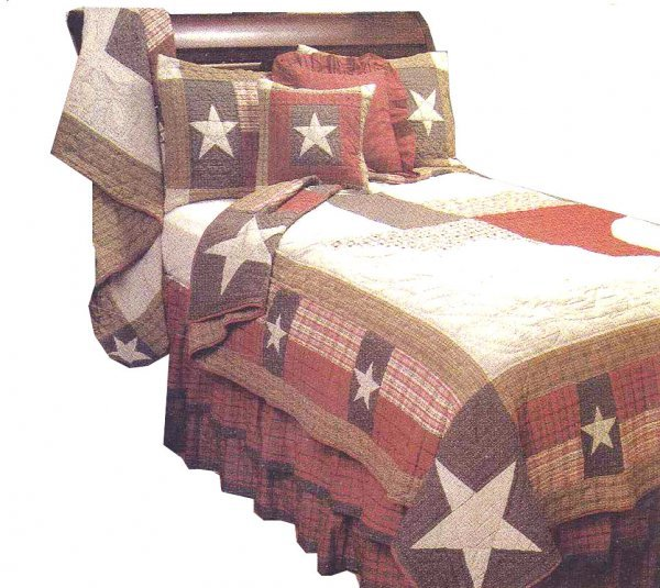 Quilt Lone Star Texas Textile Blanket Pillow Heirloom