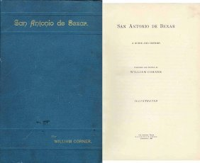 Book San Antonio History William Corner First Edition
