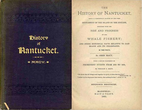 Book History Nantucket Obed Macy Whaling New England