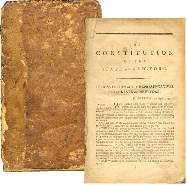 Book Consitution State New York Early NYC Law 1777 Rare