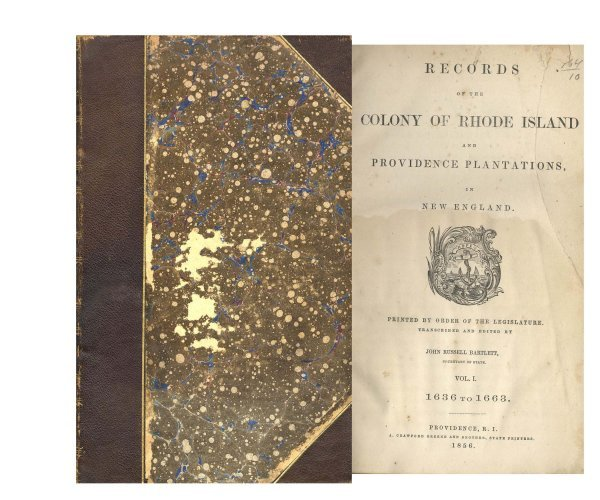 Book Record Rhode Island Plantations Volume New England