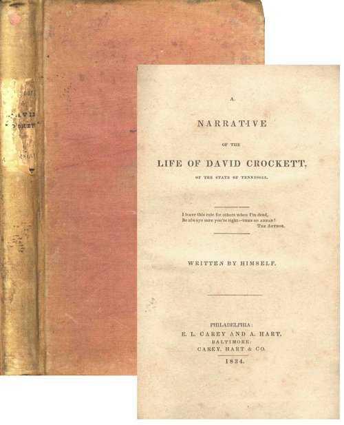 1834 Life Of David Crockett First 1st Edition Book