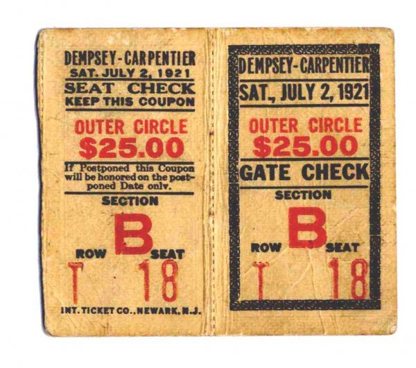 Jack Dempsey Georges Carpentier Ticket Rare Boxing