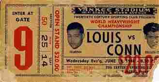 Joe Louis Billy Conn Heavyweight Champ Ticket Rare