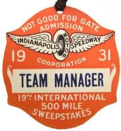 1931 Indy 500 Team Manager Badge Racing Motor Car Rare