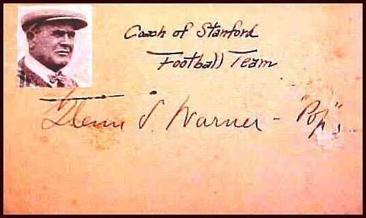 Football Coach Glen Pop Warner Sig Postcard Autograph