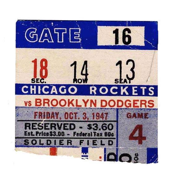Chicago Rockets Brooklyn Dodgers Ticket Soldier Field