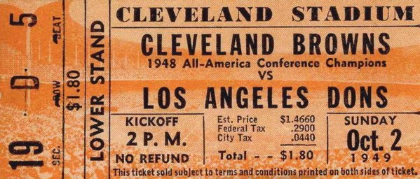 Cleveland Browns Angeles Dons Ticket AAFC Football