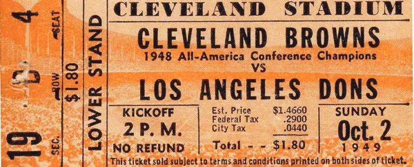 Cleveland Browns Dons Ticket Pro Football AAFC