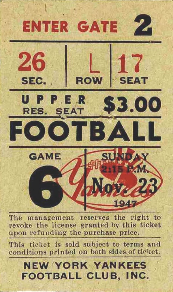 Cleveland Browns NY Yankees Ticket NFL Football