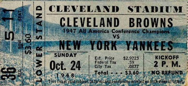 Cleveland Browns NY Yankees Ticket Pro Football