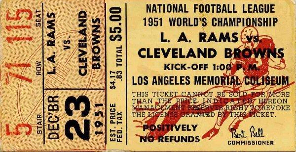 Football Ticket Stub Browns Rams NFL 1951 Championship