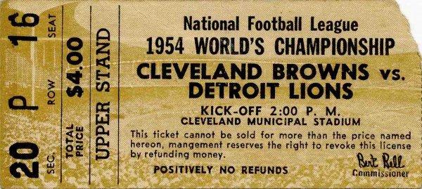 Football Ticket Cleveland Browns Detroit Lions 1954 NFL