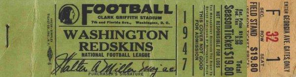 Football Ticket Washington Redskins Boston Yanks 1947