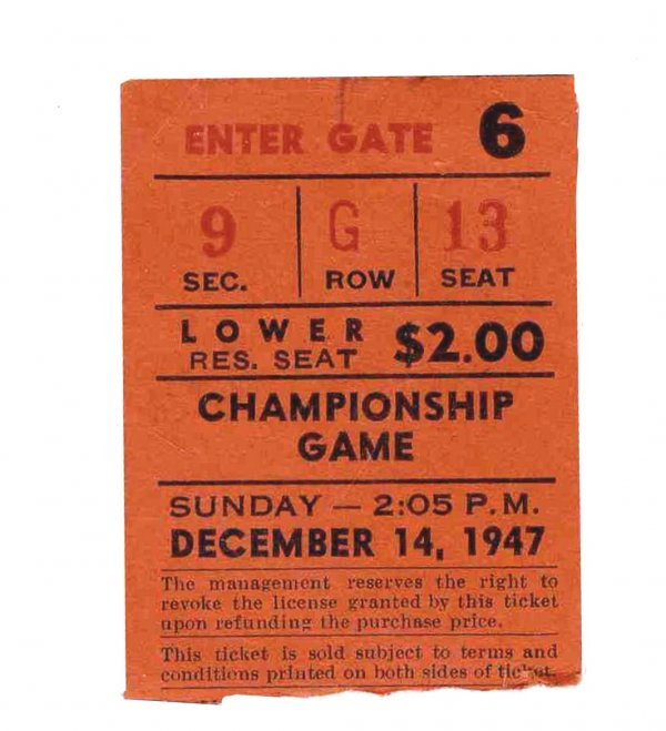 Ticket 1947 Cleveland Browns NY Yankees Football AAFC