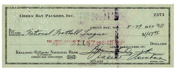 1960 Vince Lombardi Green Bay Packers Signed Check NFL