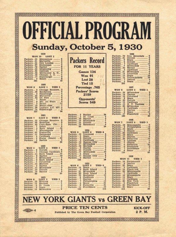 Football New York Giants Green Bay Packers Program 1930
