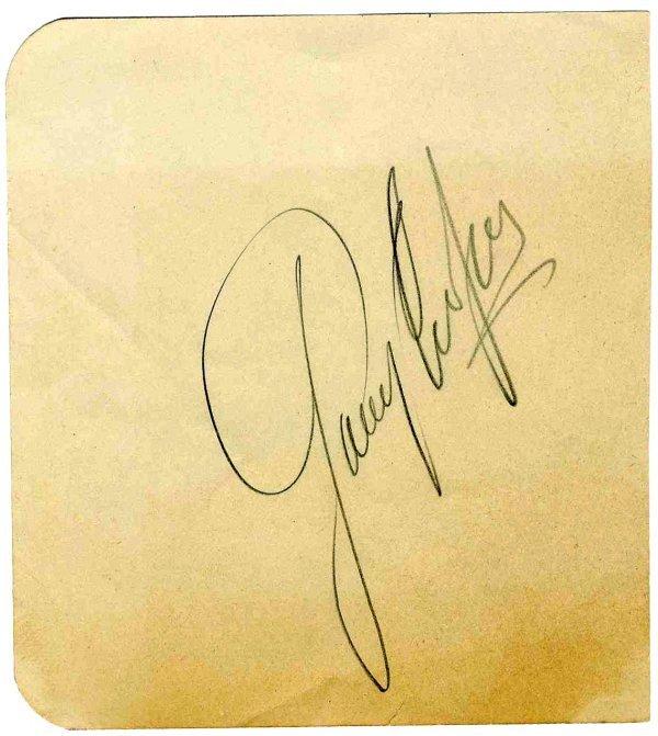 Gary Cooper Rare Signature Autograph Sig Actor