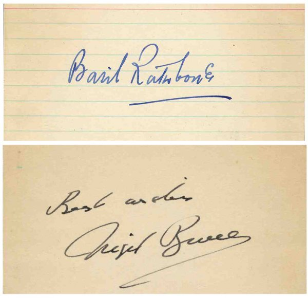 Basil Rathbone Nigel Bruce Autograph Sherlock Holmes