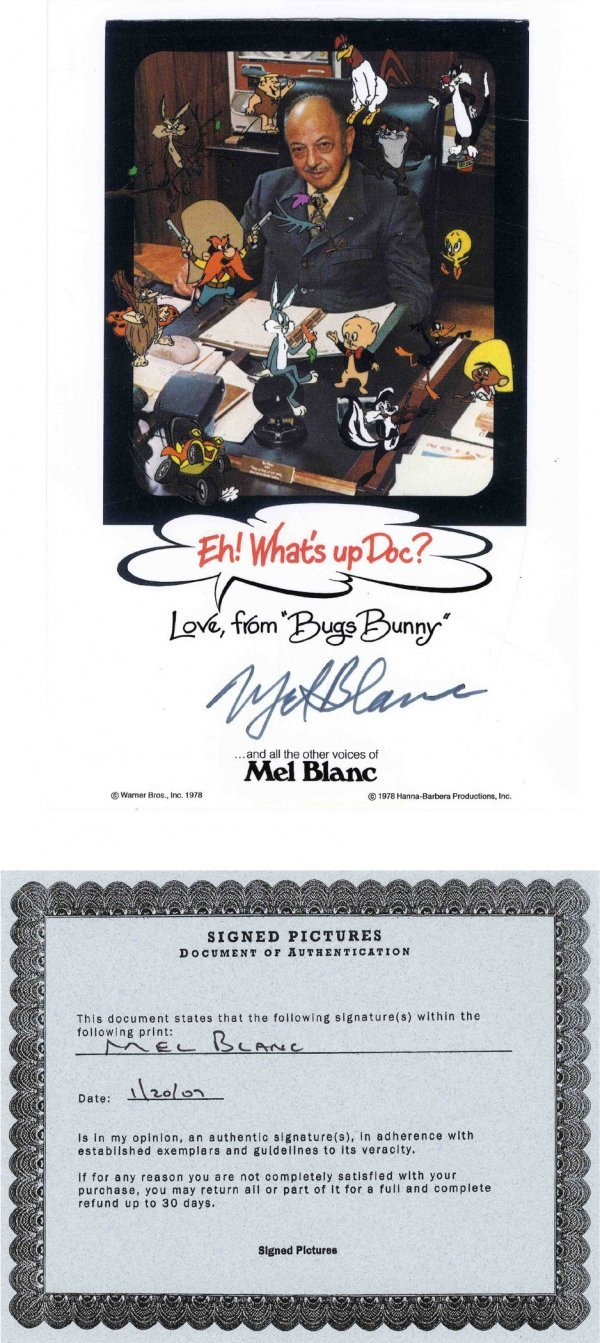 Mel Blanc Signed Photograph Warner Brothers Looney