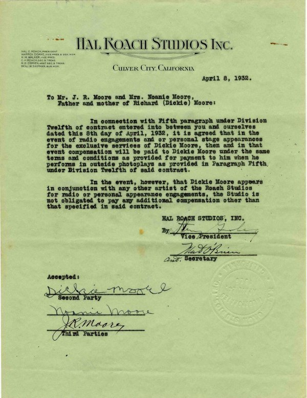 Signed Contract Dickie Moore Hal Roach Studios Our Gang