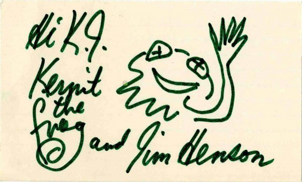 Signed Kermit Frog Sketch Jim Henson Muppet