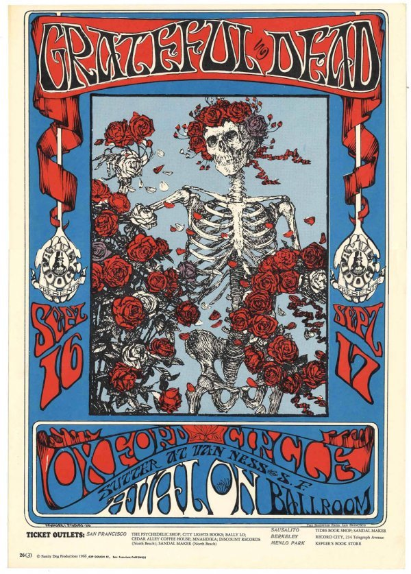 Grateful Dead 1966 Avalon Concert Live Poster Garcia