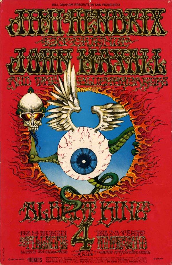 Jimi Hendrix Experience Poster Concert Live 1968 Graham