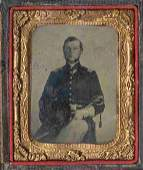 Civil War Soldier Tintype Tin Armed CW Officer Photo CW