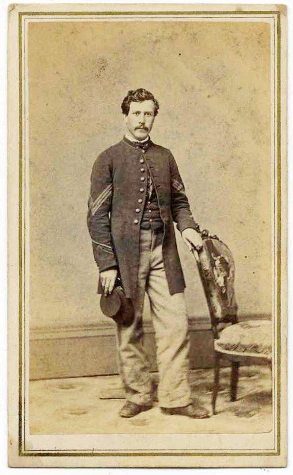 Civil War CDV Soldier Sergeant Identified Union WIA Pic
