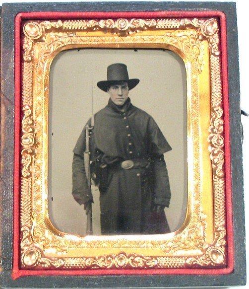 Civil War Tintype Soldier Armed Photo Bayonet Tin Pic