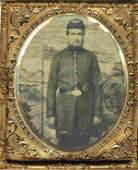 Civil War Soldier Tintype 6th Plate Armed Union CW Pic