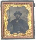 Civil War Soldier Tintype Armed Rifle Photo Pic CW Tin