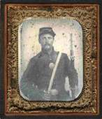 Civil War Soldier Ambrotype Armed Union Rifle Bayonet