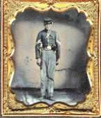 Civil War Tintype Photo Soldier Armed Sword Pistol CW