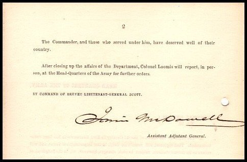2360: Civil War Soldier 1858 General McDowell Signed Do
